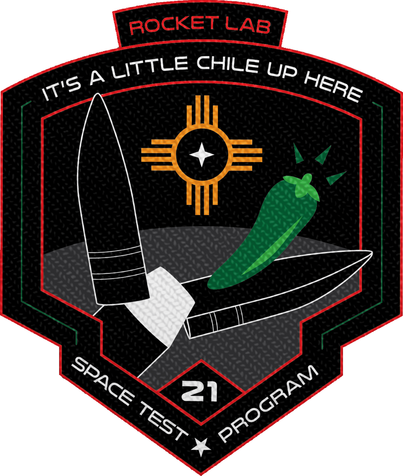 Mission patch for STP-27RM (It's a Little Chile Up Here)